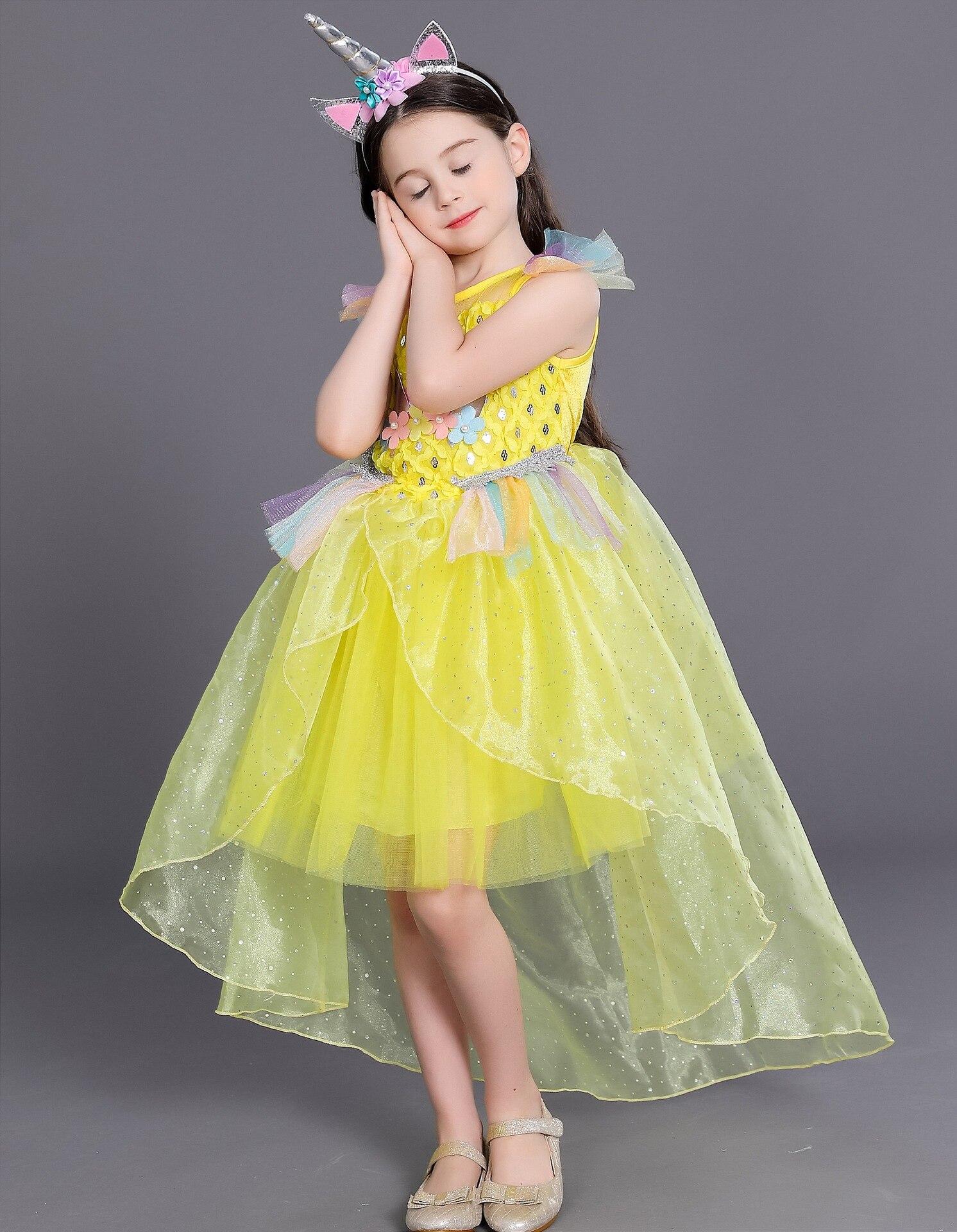 Mädchen Einhorn Prinzessin Kostüm Regenbogen Kleid ...