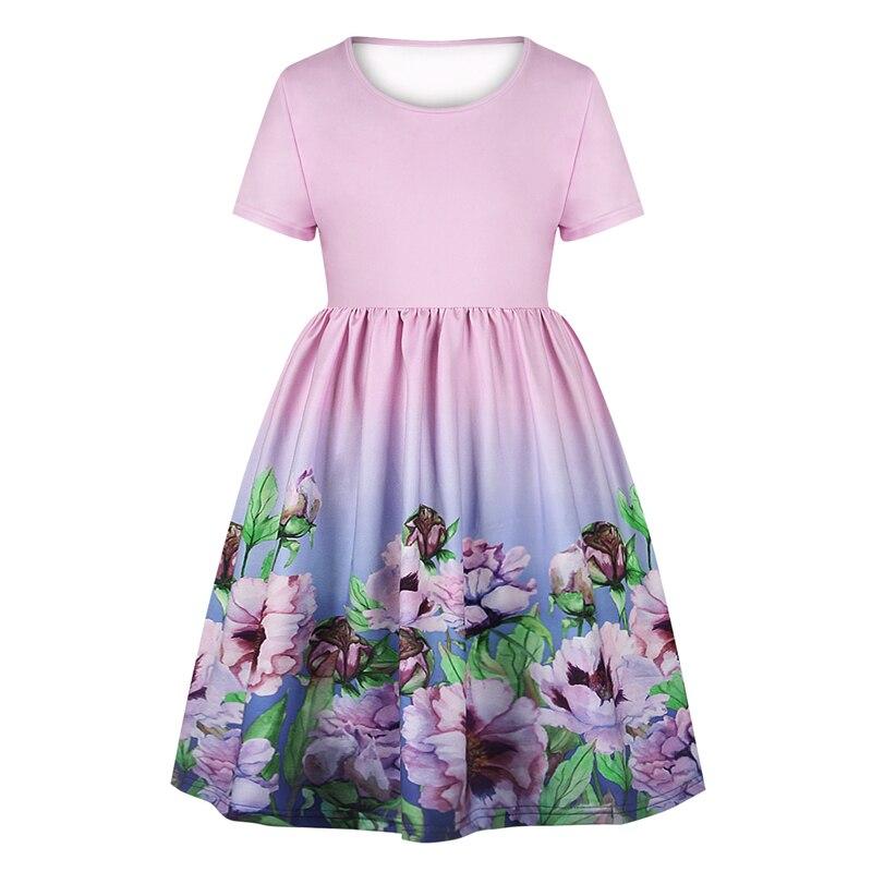 Sommer Kleid Mädchen Kurzarm Blumen Katzen - Darilo24.com