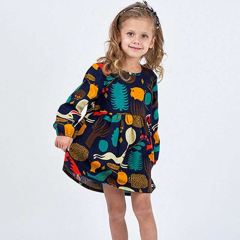 Mädchen Kleid Langarm Blumen Druck Baumwolle und Leinen ...