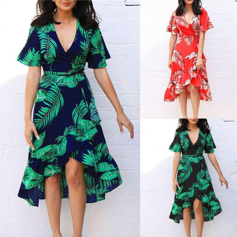 Sommer V-ausschnitt Kleid Frauen Hohe Taille - Darilo24.com